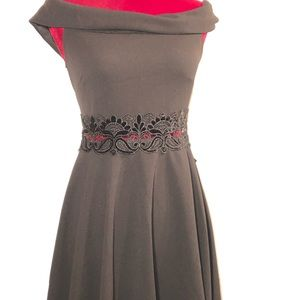 Black Junior Dress with Lace Detail on Waist Line